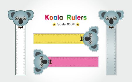 Koala of Rulers Inch and metric rulers. Scale for a ruler in inches and centimeters. Centimeters and inches measuring scale cm metrics indicator. Inch and metric rulers Vector isolated set Illusztráció