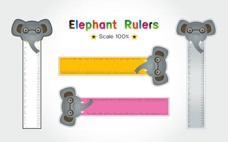 Elephant of Rulers Inch and metric rulers. Scale for a ruler in inches and centimeters. Centimeters and inches measuring scale cm metrics indicator. Inch and metric rulers Vector isolated set