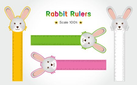 Rabbit of Rulers Inch and metric rulers. Scale for a ruler in inches and centimeters. Centimeters and inches measuring scale cm metrics indicator. Inch and metric rulers Vector isolated set