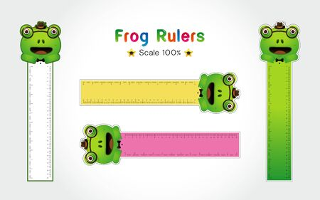 Frog of Rulers Inch and metric rulers. Scale for a ruler in inches and centimeters. Centimeters and inches measuring scale cm metrics indicator. Inch and metric rulers Vector isolated set