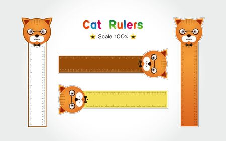 Cat of Rulers Inch and metric rulers. Scale for a ruler in inches and centimeters. Centimeters and inches measuring scale cm metrics indicator. Inch and metric rulers Vector isolated set