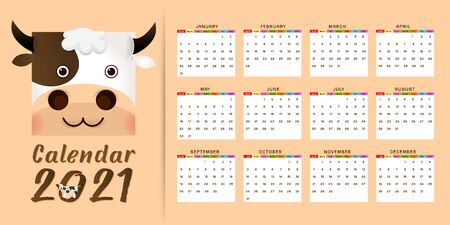 2021 annual calendar 12 months, calendar template with kawaii cartoon ox, bull or cow, symbol of new year, cute characters - Cover and 12 monthly pages. Week starts on Monday, vector editable template