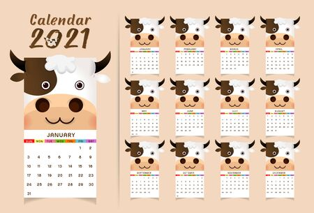 2021 annual calendar 12 months, calendar template with cartoon ox, bull or cow, symbol of new year, cute characters - Cover and 12 monthly pages. Week starts on Monday, vector editable template