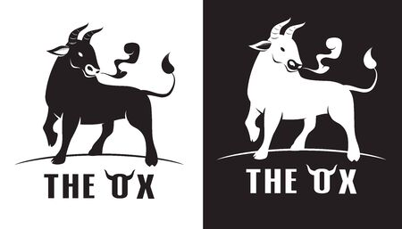 Elegant image of the Ox , bull cow, logo design concept on a white and Black background vector illustration