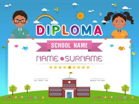 Certificate kids diploma, kindergarten template layout background frame design Vector illustration. Preschool Elementary school Kids Diploma certificate background design template