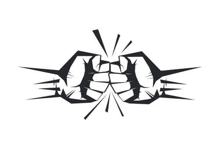 Set of template Fist hand holding  thunder bolt. Zeus and power concept isolated on white background vector illustration