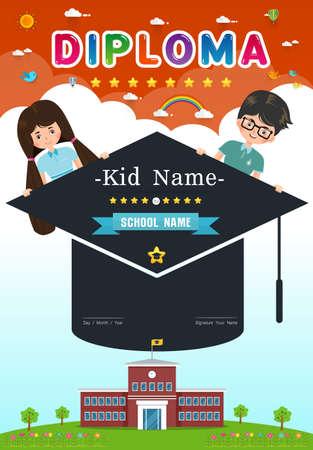 Certificate kids diploma, kindergarten vertical  template layout background frame design Vector illustration. Preschool Elementary school Kids Diploma certificate background design template