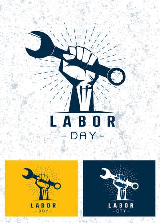 Set  of  Labor Day concept with man holding wrench vector  ,labor day t shirt design , American banner template on white background Vector illustration. Иллюстрация