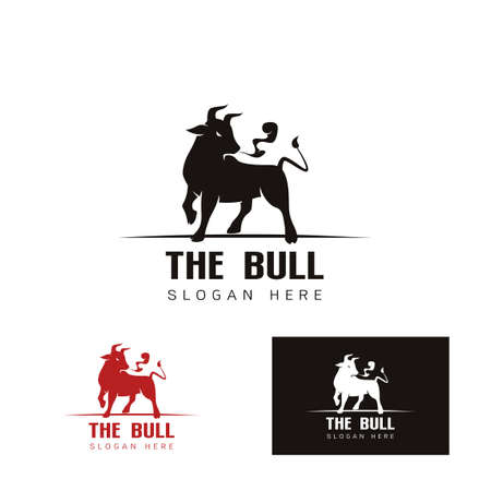 Elegant image of the Bull template , bull cow, design concept on a white and Black background vector illustration
