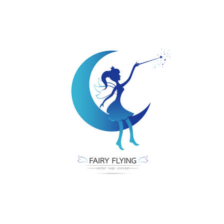 Fairy flying vector icon cartoon style. Elegant Fairy silhouette holding a magic wand with magic  sparkle Sitting on the moon. Vector illustration of Fairy with a magic wand isolated on white background
