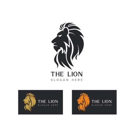 Stylized image of graceful Lion king silhouette icon emblem template ,set of elegant lion head design, lion tattoo on white background Vector illustration