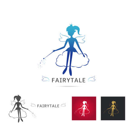 Fairy flying vector icon cartoon style. Set of Elegant Fairy silhouette holding a magic wand with magic  sparkle Sitting on the cloud. Vector illustration of Fairy with a magic wand isolated on white background Иллюстрация
