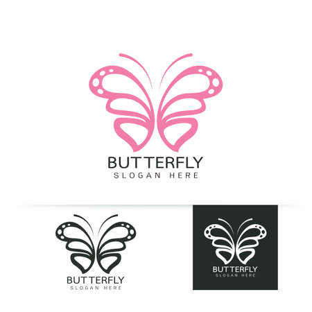 Stylized image of butterfly logo template on white background , butterfly silhouette logo isolate Vector illustration Иллюстрация