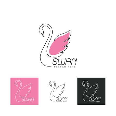 Set of beautiful icon swan Иллюстрация