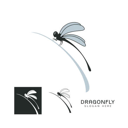 Set of beautiful icon dragonfly Иллюстрация
