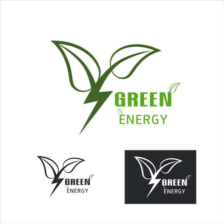 Green Factory Power Energy Logo Design Element,  Leaves icon vector, creative green leaf logo concept template, Eco icon green leaf vector illustration isolated. Leaf logo on white vector illustration