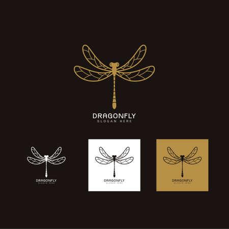 Set of Beautiful luxury logo dragonfly,Stylized image of Dragonfly gold logo template,Dragonfly tattoo,Dragonfly line art on Black backgrond Vector illustration Иллюстрация