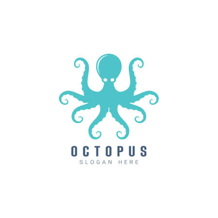 Beautiful icon squid , Stylized image of squid isolated template, squid tattoo  silhouette on white background Vector illustration