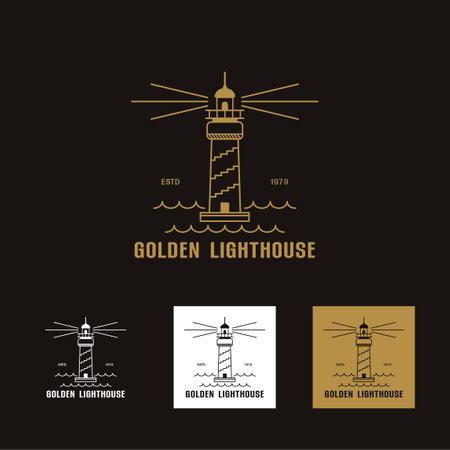 Set of luxury gold Lighthouse logo icon template vector illustration design, creative logo line art Lighthouse, Lighthouse logo  for T shirt design on white background vector illustration
