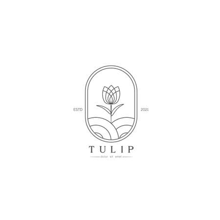 Beautiful Simple Tulip bud with leaves design for logo, Stylized image of Tulip bud logo template, Tulip line art minimal on white background Vector illustration