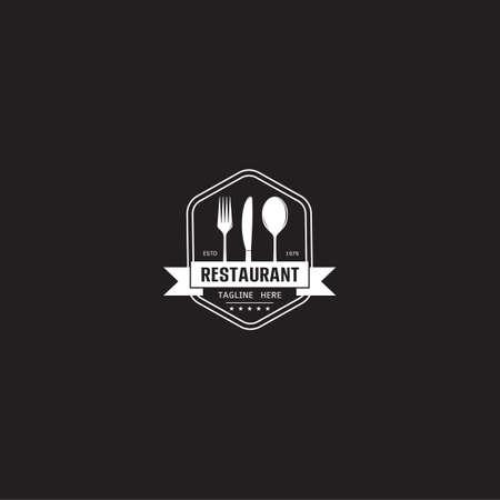 Food chef cook with fork spoon knife kitchen restaurant cafe logo design icon vector template on black background vector illustration Иллюстрация