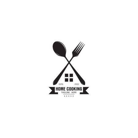 Home cooking fork spoon logo design inspiration logo template on white background vector illustration