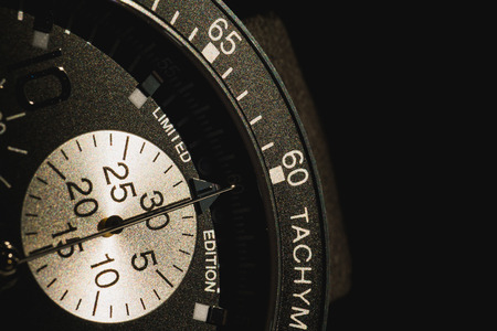 miror: part of tachymeter watch in shadow Stock Photo