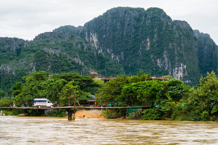 transportation in vangvieng laos cross local bridge