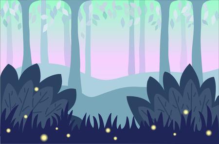 glowworm: Nature background, cartoon landscape illustration.