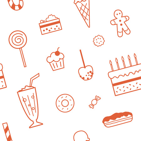 Seamless pattern with confectionery and sweets. Linear design