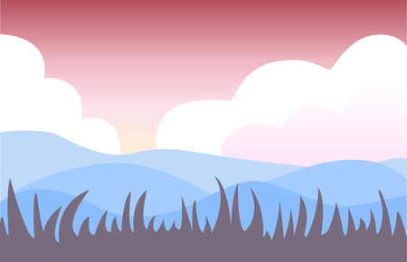Back three-line background for various inscriptions and designs. Landscape composition. View of a field or a desert among the clouds. Illustration