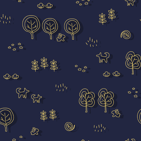 Seamless pattern with forest motifs - trees, bushes, flowers, branches, animals. Monochrome linear ornament. Great for prints, textiles, covers, gift wrappers, backdrops.
