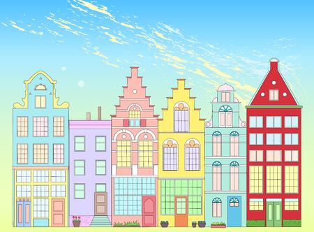 Old colorful building in Holland on bright background Ilustración de vector