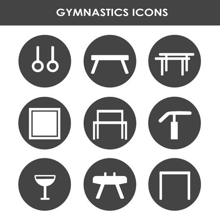 Collezione di icone di linea con attrezzature per ginnastica artistica.