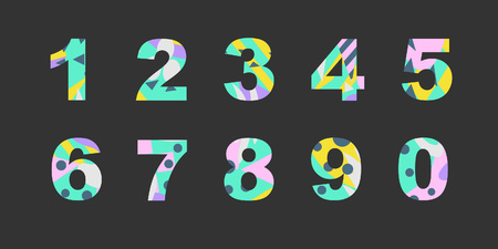 Collection of numbers with bright abstract texture. Good for any printed products, textile, invitation for a holiday and other types of design. 일러스트
