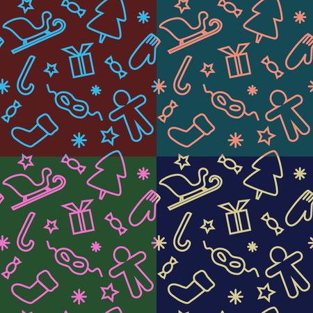 Bright  seamless patterns with Xmas spirit Illusztráció