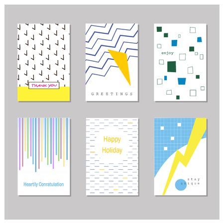 Set of creative universal cards. Geometric design. Wedding, birthday, anniversary, party, Valentines day, invitation Illustration