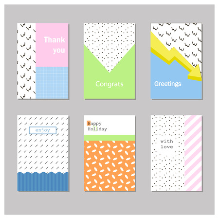 Set of creative universal cards. Geometric design. Wedding, birthday, anniversary, party, Valentine's day, invitation.