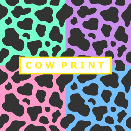 Bright seamless pattern set with cow spots