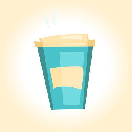 illustration cartoon disposable coffee cup Ilustração