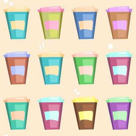 Bright seamless pattern with cartoon disposable coffee cups