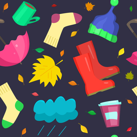 Bright fall seamless pattern. Vector illustration with umbrella, socks, cloud, hat, leaf, mug, rubber boots and coffee to go