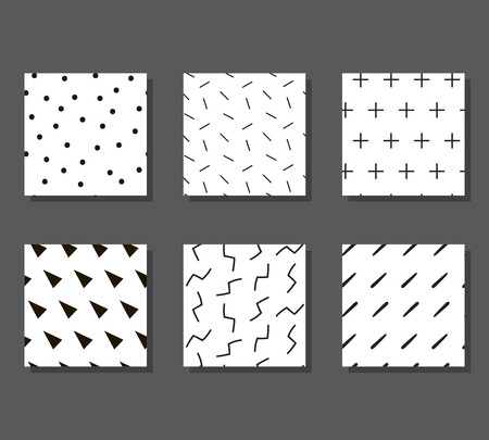 Set of creative graphic seamless patterns