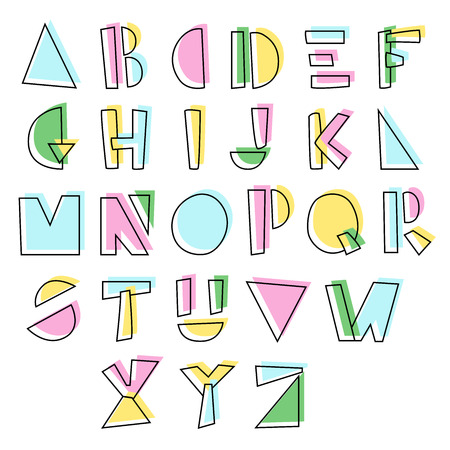 Line hand drawn alphabet with colorful shadow. Vector illustration