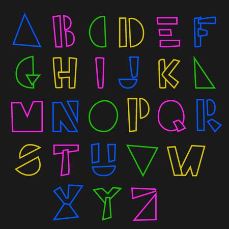 Bright line hand drawn alphabet. Vector illustration