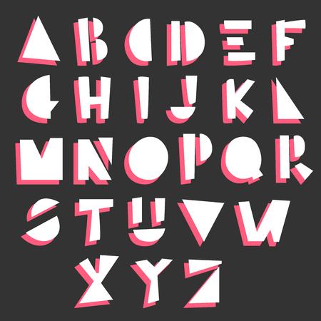 Cartoon geometric hand drawn alphabet. Vector illustration