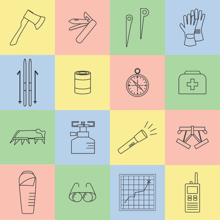 Set line icons of mountaineering equipments. Collection vector icons for climbing, trekking, hiking, tourism, expedition, extreme, camping, outdoor recreation and vacation in mountains