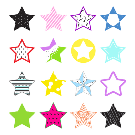 Collection bright stars with creative texture