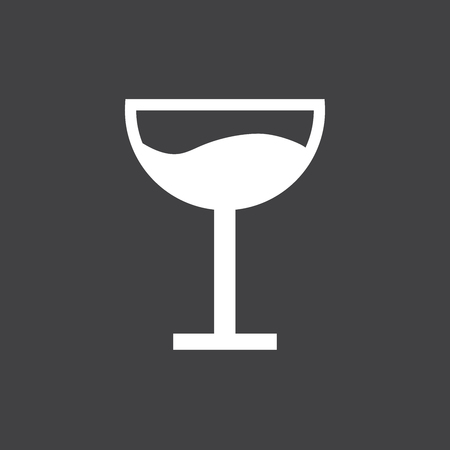 Wineglass icon vector. Icon of wine glasses on black background