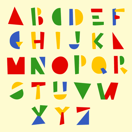 Holiday geometric hand drawn alphabet. Colorful vector illustration for Christmas and New Year